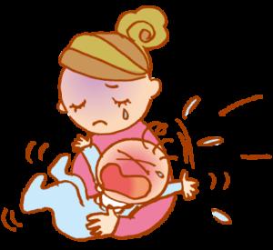 泣いている子に困るママ