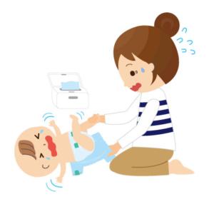 泣く赤ちゃんに困るママ